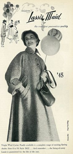 1953 Fashion Ad, Lassie Maid Virgin Wool Poodle Coat by classic_film, via Flickr