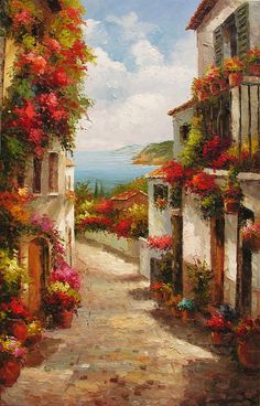 ORIGINAL Oil Painting The Beauty of Summer 23 x 36 French Village Palette Knife Seascape Sun Flowers Nature Sea Red Colorful by Marchella