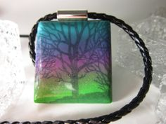 Sparkly Light Blue Purple and Green with Black Tree by PohdDesign, $32.00