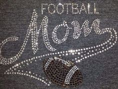Football mom  Iron on hotfix bling rhinestone by LaLaBoutiqueBling