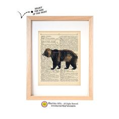 Bear dictionary print-N02-Bear art print-Bear on book page-Nature print-Wildlife print-Upcycled Vintage Dictionary art - by NATURA PICTA