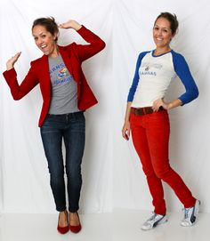 puke the KU- but i love how she paired her tee with a blazer