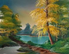 Japanischer Garten 50cm x 40cm Öl auf Leinwand Japan, Am Meer, River, Outdoor, Oil On Canvas, Landscape, Painting Art, Nature, Lawn And Garden
