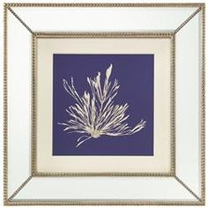 Seaweed Stem Coastal Beach Ivory Navy Blue Silhouette Mirror Frame Wall Art | Kathy Kuo Home