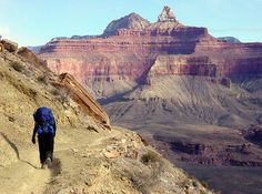 South Kaibab Trail - Grand Canyon NP, AZ, USA. A hiker on the south kaibab trail about half-way to phantom ranch. Zoroaster and brahma temples beyond.