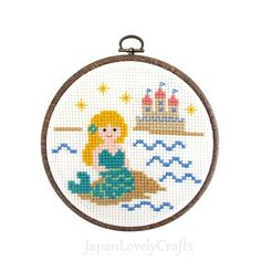Japanese Cross Stitch Kit Tutorial, Fairy Tale, Little Mermaid, Beginner Embroider, Hand Embroidery Kit, Cute Embroidery Wall Art, JapanLovelyCrafts