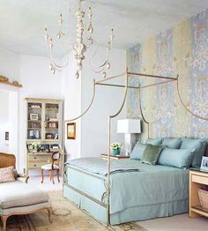 """""""Cultivate Calm"""" - love that phrase ... Wisdom for decoration and life in general!  Love the canopy bed, bedding & arrangement."""