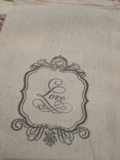 Hand Stamped Muslin Gift Bags  Love  Vintage by frenchcountry1908, $6.75
