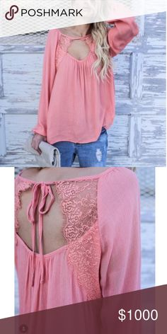 Blush Lace Key Hole Neckline Top & Cuff Sleeves Arrives Friday/Ships Saturday! Blush Lace Key Hole Neckline Top & Cuff Sleeves. Lace keyhole Back detail with delicate tie. Runs true to size. Price is Firm Unless Bundled. GlamVault Tops
