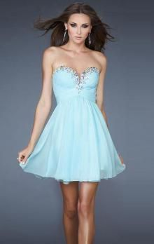 Short/Mini Chiffon A-line Strapless Sweetheart Natural Waist Sleeveless Light Sky Blue Homecoming Dress