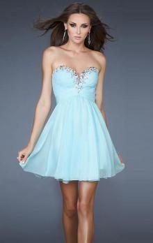 Short/Mini Chiffon A-line Strapless Sweetheart Natural Waist Sleeveless Light Sky Blue Homecoming Dress
