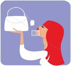 Woman looking at handbag price tag Stock Illustration