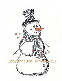 Christmas Winter Snowman Word Art Typography Calligram by Joni James at CalligramORama, $19.50
