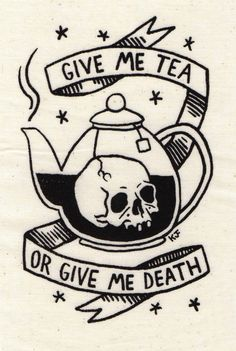 "kjerstifaret: ""Give Me Tea or Give Me Death"" Silkscreen Patch Find it on Etsy. By Kjersti Faret."