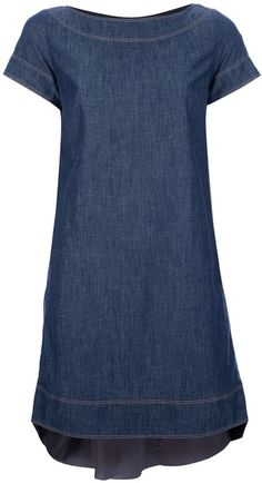 SACAI   Rear Pleat Denim Dress - Lyst