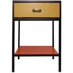 View this item and discover similar for sale at - George Nelson Steel Frame night stand / end table, produced by Herman Miller, circa Single drawer, lower bottom shelf.