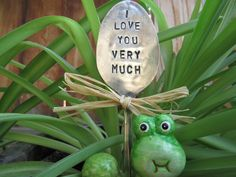 I love you very much silver plated spoon - hand stamped garden pick - garden…