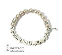 Accessoires - Armband Schwesterherz Geschenk Hochzeit Perlen Perlenarmband mit Namen taupe Infinity Unendlichkeitszeichen Schwester Geschenk Hochzeit - ein Designerstück von sweetrosy bei DaWanda