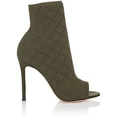 Gianvito Rossi Women's Perforated Knit Ankle Booties (14.567.875 IDR) ❤ liked on Polyvore featuring shoes, boots, ankle booties, ankle boots, army green, high heel bootie, open toe high heel boots, open toe booties, short boots and high heel ankle boots