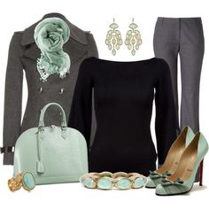 Grey pants & black top with a grey coat - splash of color in the jewelry, purse, and scarf. Not a fan of mint, but the principle is good - any pop of color would look great. Work Fashion, Fashion Outfits, Womens Fashion, Pretty Outfits, Cute Outfits, Corporate Outfits, Work Attire, Dress To Impress, What To Wear
