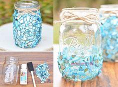 .. Taşlarla dekoratif kavanoz süslemesi.. Home Accessories, Elsa, Origami, Mason Jars, Glass Vase, Old Things, Presents, Diy Crafts, Handmade