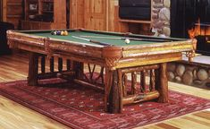 Billiard, shuffleboard, poker and game tables. Rustic pool cue racks, game table chairs, pub tables, bar stools, accessories. Shop rustic and western decor.