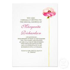elegant beautiful one pink flower design bridal shower invitations