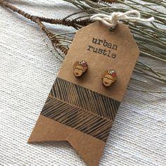GREEN Frida Kahlo stud earrings wooden earrings wooden
