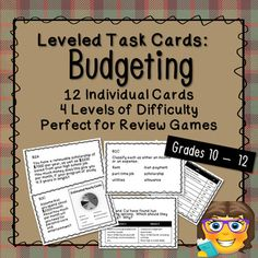 Perfect for test or exam review, this set includes 12 applied budgeting task cards and 4 blank cards. A recording sheet and answer guide are also included. Each card is individually coded, making it easy to quickly gauge topic and level, particularly if you are combining these with other task cards ... Exam Review, Review Games, Math Skills, Life Skills, Secondary Math, Living On A Budget, Recording Sheets, Student Work, Blank Cards