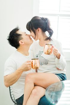 at home engagement photos Adorable At Home Engagement Shoot with Sips + Sweet Kisses – Style Me Pretty Engagement Couple, Engagement Pictures, Engagement Shoots, Pre Wedding Photoshoot, Wedding Shoot, Couple Posing, Couple Shoot, Disney Mickey Mouse, Selfies