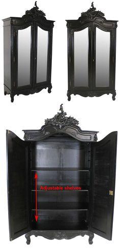 French Noir 2 Door Mirrored Armoire £779