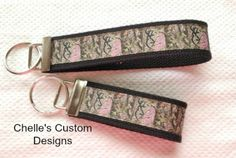 Camo with deer head heart keychain key fob by ChellesCustomDesigns, $4.50