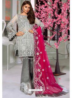 Grey Butterfly Net Party Wear Designer Suit