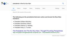 """Google's """"One True Answer"""" problem — when featured snippets go bad Obama's planning a coup? Women are evil? Several presidents were in the KKK? Republicans are Nazis? Google can go spectacularly wrong with some of its direct answers.  The post Google's """"One True Answer"""" problem — when featured snippets go bad appeared first on Search Engine...    Please visit Search Engine Land for the full article.http://feeds.searchengineland.com/~r/searchengineland/~3/TbK7dPhwx1Y/googles-one-true-a.."""