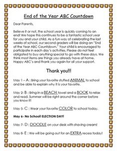 End of the Year ABC Countdown by Wild About Grade Abc School, Elementary School Library, End Of School Year, Elementary Schools, Kindergarten Parent Letters, Kindergarten Reading, 2nd Grade Teacher, Teaching First Grade, Alphabet Activities