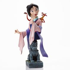 """4046192: Mulan & Mushu - Colorful and lively Mushu is perched on Mulan's shoulder in this charming Limited Edition 3,000 bust. The base is inspired by the """"Great Stone Dragon"""" Mushu tries to awake at the family's temple to their ancestors."""