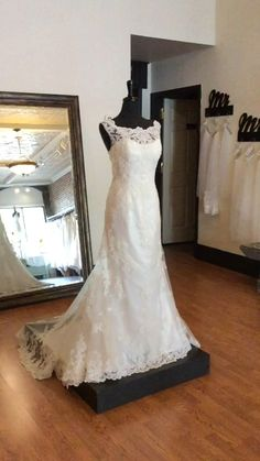 This lace off-the-shoulder fit and flair wedding dress has everything. With a scalloped train and beautifully beaded. dresses trumpet fit and flair Off the shoulder lace wedding dress Lace Weddings, Wedding Dress Styles, Off The Shoulder, Our Wedding, Wedding Planning, Train, Trumpet, Fit, Beauty