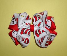 Dr. Seuss big boutique bow for girls - Thing 1 and Cat in the Hat - back to school hair bow. $6.00, via Etsy.