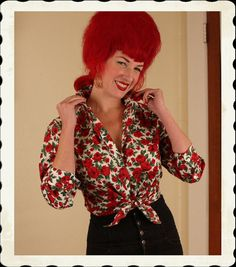 Oh, I need this too!    GORGEOUS 1950's Crisp Cotton Button Up Blouse by butchwaxvintage, $95.00