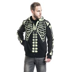 "Felpa uomo ""Glow in the Dark Skeleton"" del brand #Banned."