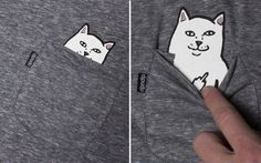 Pocket Cat T-Shirts With A Hidden Surprise: Did The Curiosity Kill The Cat or Did The Cat Kill Curiosity