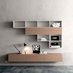 Contemporary wall mounted TV media unit Pro by Morassutti. Minimalist look and simplicity for modern living room interior design image