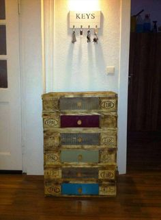 Pallet Key Organizer + Chest of Drawers - 30 DIY Pallet Ideas For DIY Home Decor…