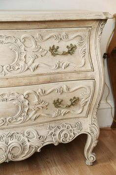 For Sale on - Beautifully carved and detailed French style commode with a stripped and bleached natural finish. Baker Furniture, Paint Furniture, White Furniture, Furniture Projects, Furniture Makeover, Gold Painted Furniture, Refurbishing Furniture, Furniture Design, Victorian Bedroom