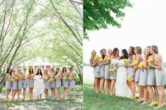 adorable bridesmaids. funky yellow shades, necklaces, and shoes w/ grey dresses..yes.