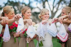 embroidered handkerchiefs personalized for each bridesmaid - so sweet!