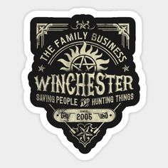 Shop A Very Winchester Business supernatural t-shirts designed by Arinesart as well as other supernatural merchandise at TeePublic. Supernatural Fandom, Supernatural Symbols, Supernatural Wallpaper, Winchester Supernatural, Phone Stickers, Anime Stickers, Cute Stickers, Planner Stickers, Chevrolet Impala 1967