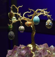Faberge tree with eggs.  One of the displays in Faberge: Imperial Jeweler to the Tsars Exhibition, located in Houston Museum of Natural Science.