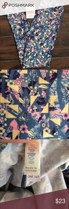 NWT LuLaRoe OS blue floral leggings Buttery soft leggings are blue with pink and yellow flowers and leaves with yellow triangles. Perfect pattern for spring and summer! LuLaRoe Pants
