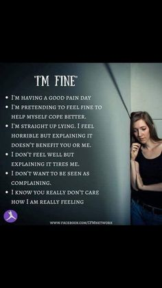 """""""I'm fine, just tired"""" Sometimes I lie when it's easier than telling the truth. """"I'm fine, just tired"""" Sometimes I lie when it's easier than telling the truth. Fibromyalgia Pain, Chronic Migraines, Fibromyalgia Quotes, Rheumatoid Arthritis, Chronic Illness Quotes, Complex Regional Pain Syndrome, Ehlers Danlos Syndrome, Chronic Fatigue Syndrome, Invisible Illness"""